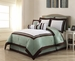 9 Piece Queen Hotel Sage and White Comforter Set