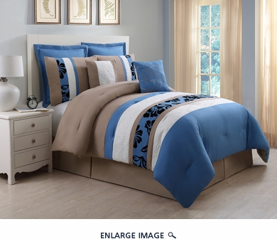 8 Piece Queen Jolene Blue and Taupe Comforter Set