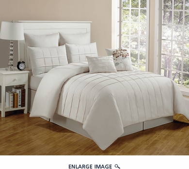 8 Piece Queen Layla Ivory Comforter Set