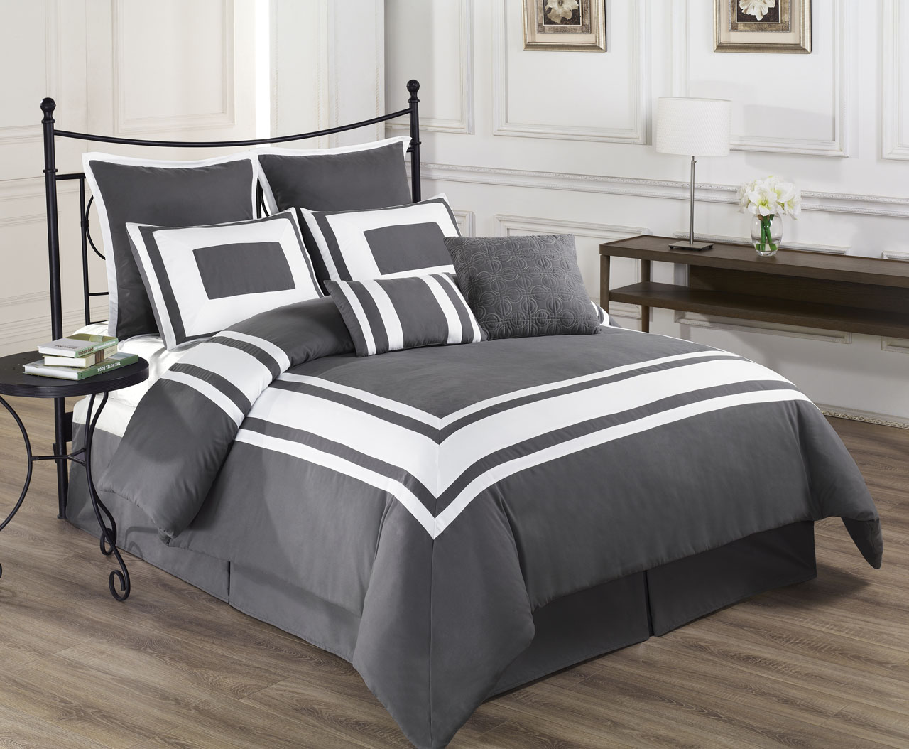 King Size Bed Sheet Set Grey White Stripe