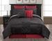 8 Piece  Queen Mason Black and Crimson Comforter Set