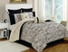 8 Piece Queen Miranda Black/Ivory Comforter Set