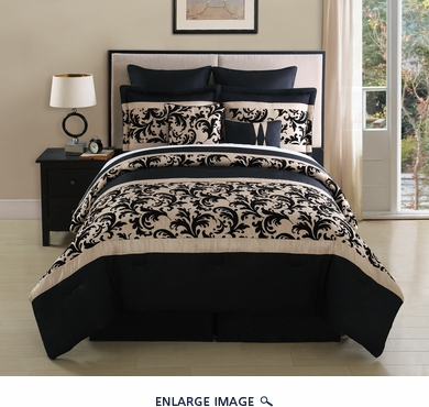 8 Piece  Queen Montessie Black and Taupe  Comforter Set