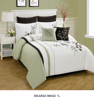 8 Piece Queen Olney Leaf Embroidered Bedding Comforter Set