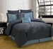 8 Piece Queen Peoria Charcoal and Blue Comforter Set