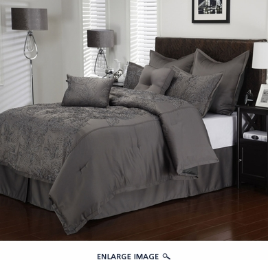 8 Piece Queen Roselle Charcoal Comforter Set