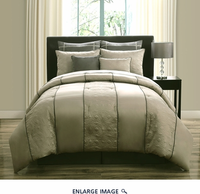 8 Piece  Queen Roxbury Gray and Charcoal  Comforter Set