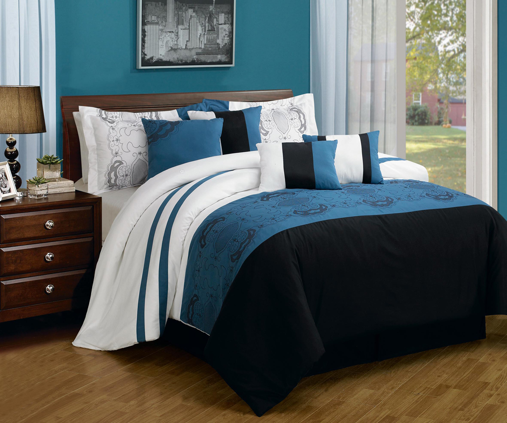 Blue bedspreads and comforters - Piece Queen Sartor Blue And Black Embroidered Comforter Set