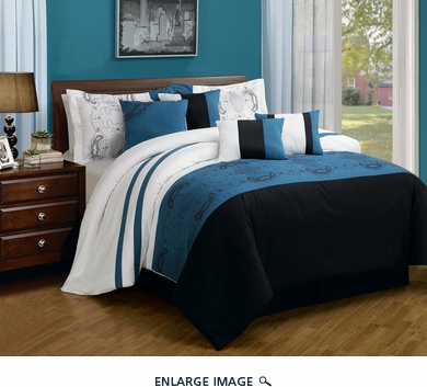 8 Piece Queen Sartor Blue and Black Embroidered Comforter Set
