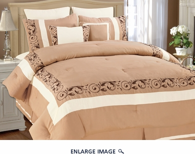 8 Piece Queen Shilo Taupe and White Embroidered Comforter Set