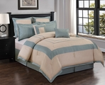 8 Piece  Queen Stratton Spa and Ivory Comforter Set