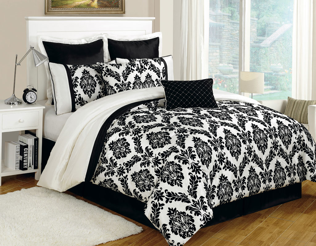 Piece Queen Villa Flocking Floral Black/White Comforter Set