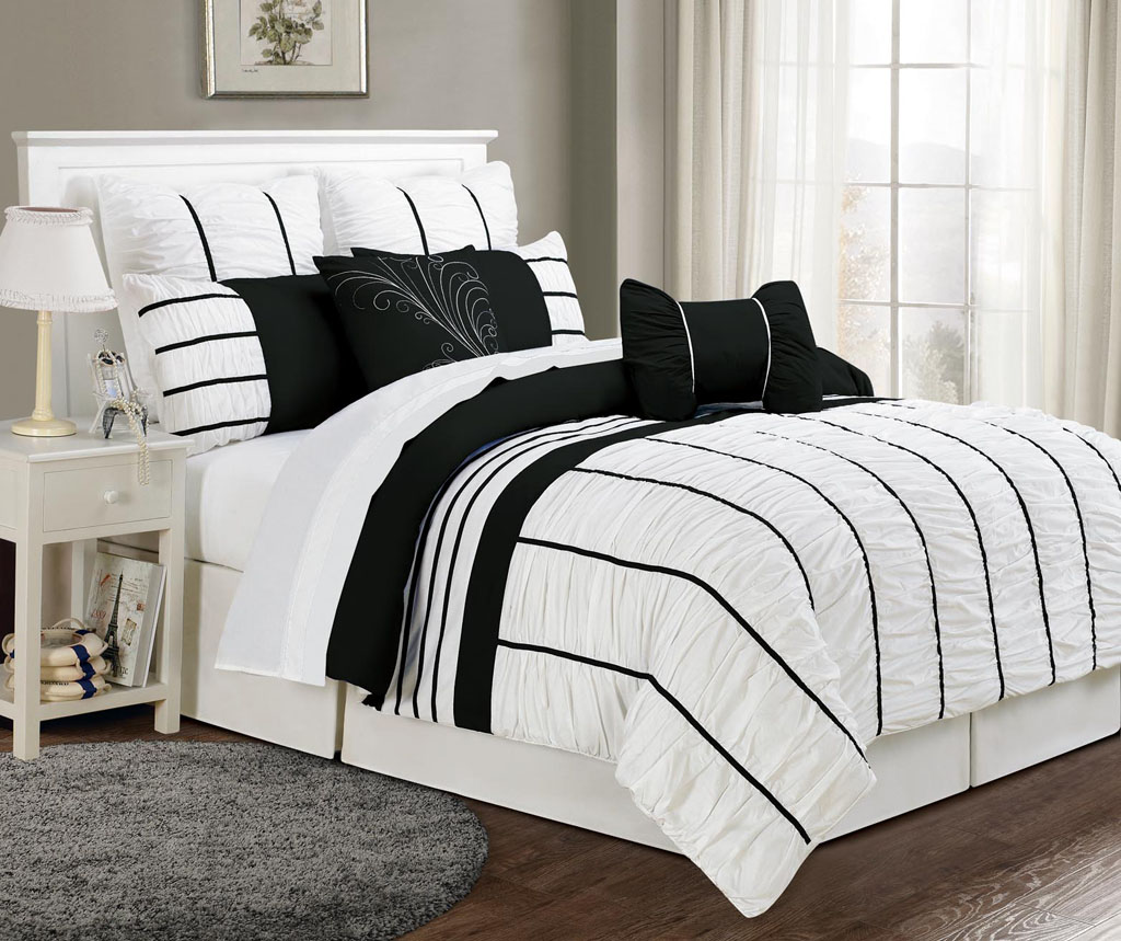 Black and white ruffle bedding black and white comforter