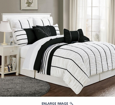 8 Piece Queen Villa Black and White Comforter Set
