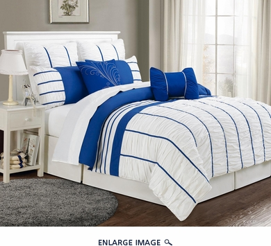 8 Piece Queen Villa Blue and White Comforter Set