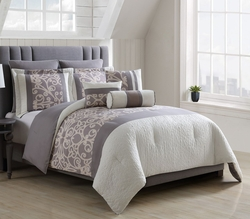 8 Piece Renate Gray/Taupe/Ivory Comforter Set