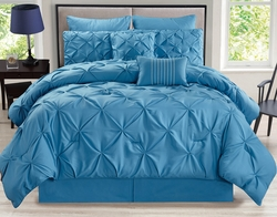 8 Piece Rochelle Pinched Pleat Blue Comforter Set