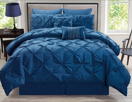 8 Piece Rochelle Pinched Pleat Navy Comforter Set