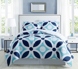 8 Piece Westlake Navy/Aqua Comforter Set with Sheets