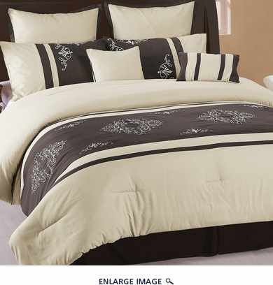 8Pcs King Coffee and Beige Embroidered Comforter Set