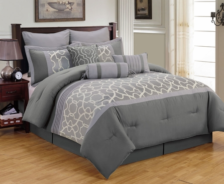 9 Piece Aisha Gray Comforter Set