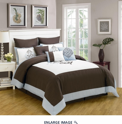 9 Piece Cal King Baldwin Coffee and Blue Comforter Set