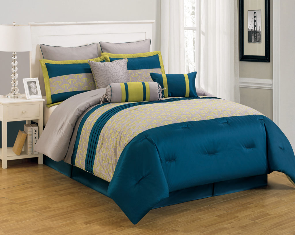 Blue bedspreads and comforters - Piece Cal King Carter Blue And Yellow Comforter Set