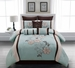 9 Piece Cal King Hana Sky Blue Comforter Set