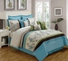 9 Piece Cal King Linna Beige and Blue Comforter Set