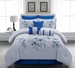 9 Piece Cal King Linnea Blue Comforter Set