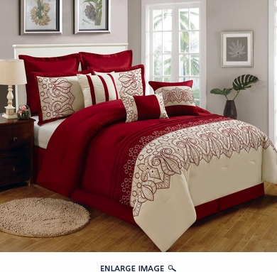 9 Piece Cal King Lynsey Burgundy and Beige Comforter Set