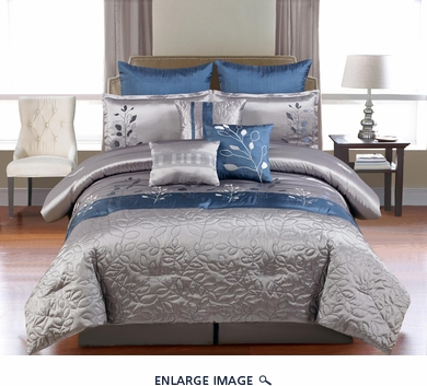 9 Piece Cal King Mariana Embroidered Comforter Set