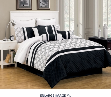 9 Piece Cal King Randi Black and White Comforter Set