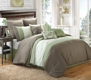 9 Piece Cork Chocolate/Sage/White Comforter Set