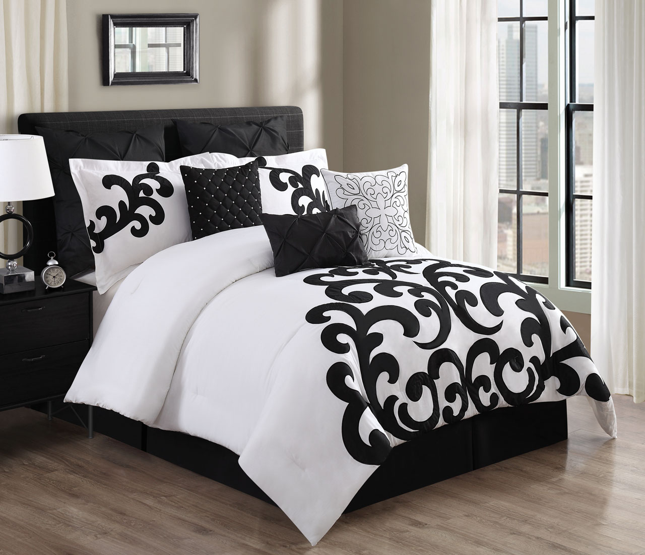9 piece empress 100 cotton black white comforter set - Black and white bedding sets ...