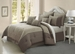 9 Piece King 100% Cotton Blossom Jade and Taupe Comforter Set