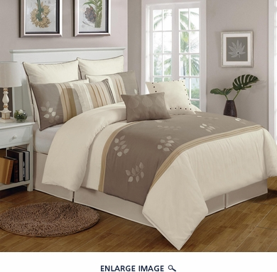 9 Piece King Abbie Leaves Embroidered Comforter Set