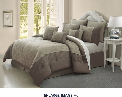 9 Piece King Blossom Jade and Taupe Comforter Set