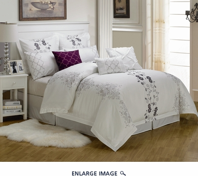 9 Piece King Carolyn Embroidered Comforter Set