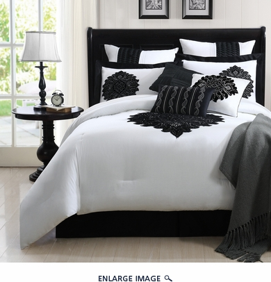 9 Piece King Copolla Black and White 100% Cotton Comforter Set