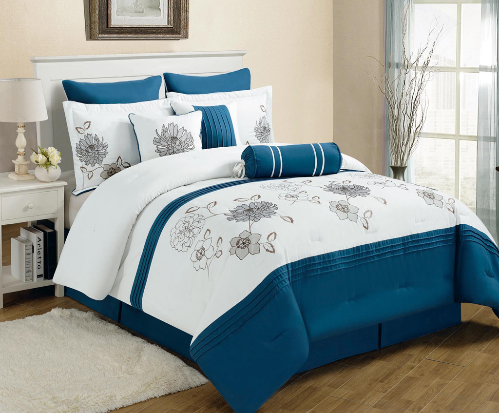 Blue bedspreads and comforters - Piece King Cremon Diva Blue And White Comforter Set
