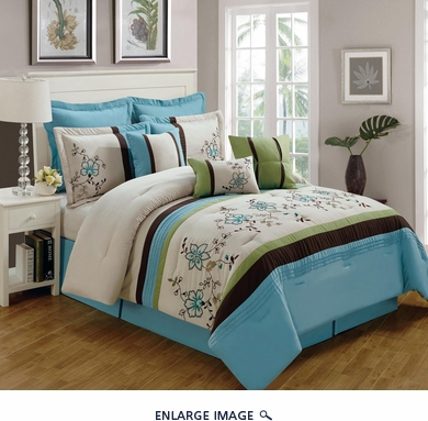 9 Piece King Linna Beige and Blue Comforter Set