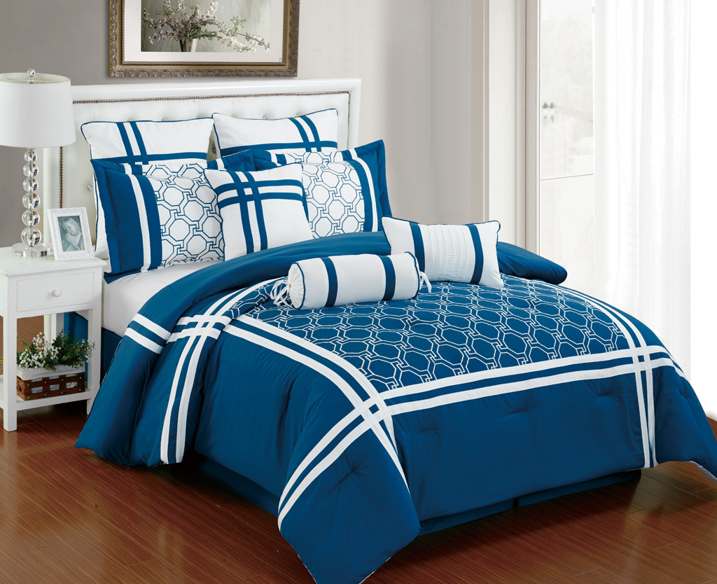 Piece king nelson blue and white comforter set