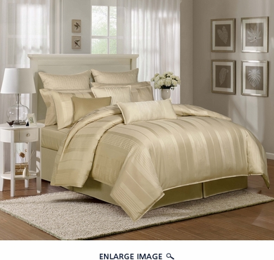 9 Piece King Pavillion Gold 500TC 100% Cotton Comforter Set