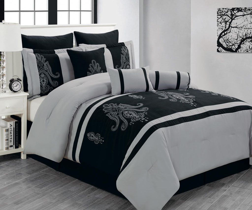 Black and grey bedding - Download Image Black And Gray Comforter Sets Pc Android Iphone And