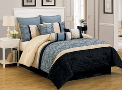 9 Piece King Yasmin Blue and Black Comforter Set