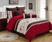 9 Piece King Zahara Burgundy and Coffee Comforter Set