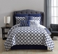 9 Piece Mr. and Mrs. Navy/White Reversible Comforter Set