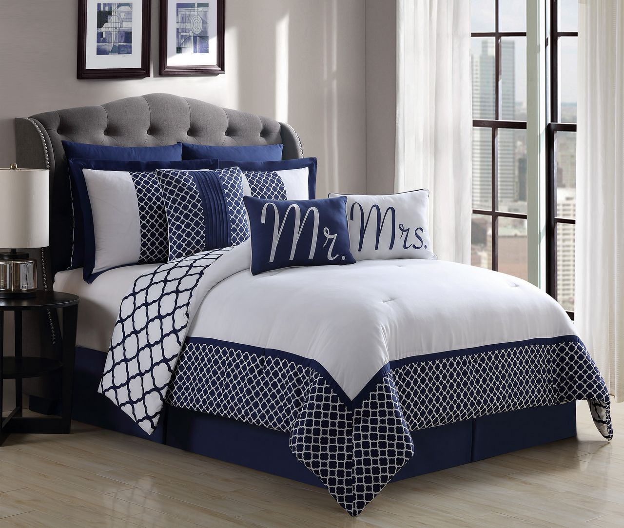 9 Piece Mr  and Mrs  Navy White Reversible Comforter Set Cal King. 9 Piece Mr  and Mrs  Navy White Reversible Comforter Set