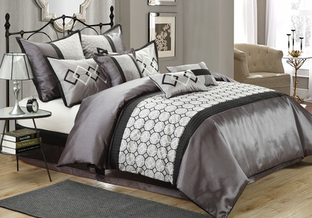9 Piece Mulhouse Charcoal/Gray Comforter Set
